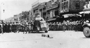 British soldiers at the Qissa Khwani Bazaar during the demonstrations