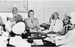 Mountbatten unveiling the partition plan to Nehru, Jinnah and other Indian officials