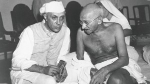 Nehru and Gandhi discussing the Quit India Movement