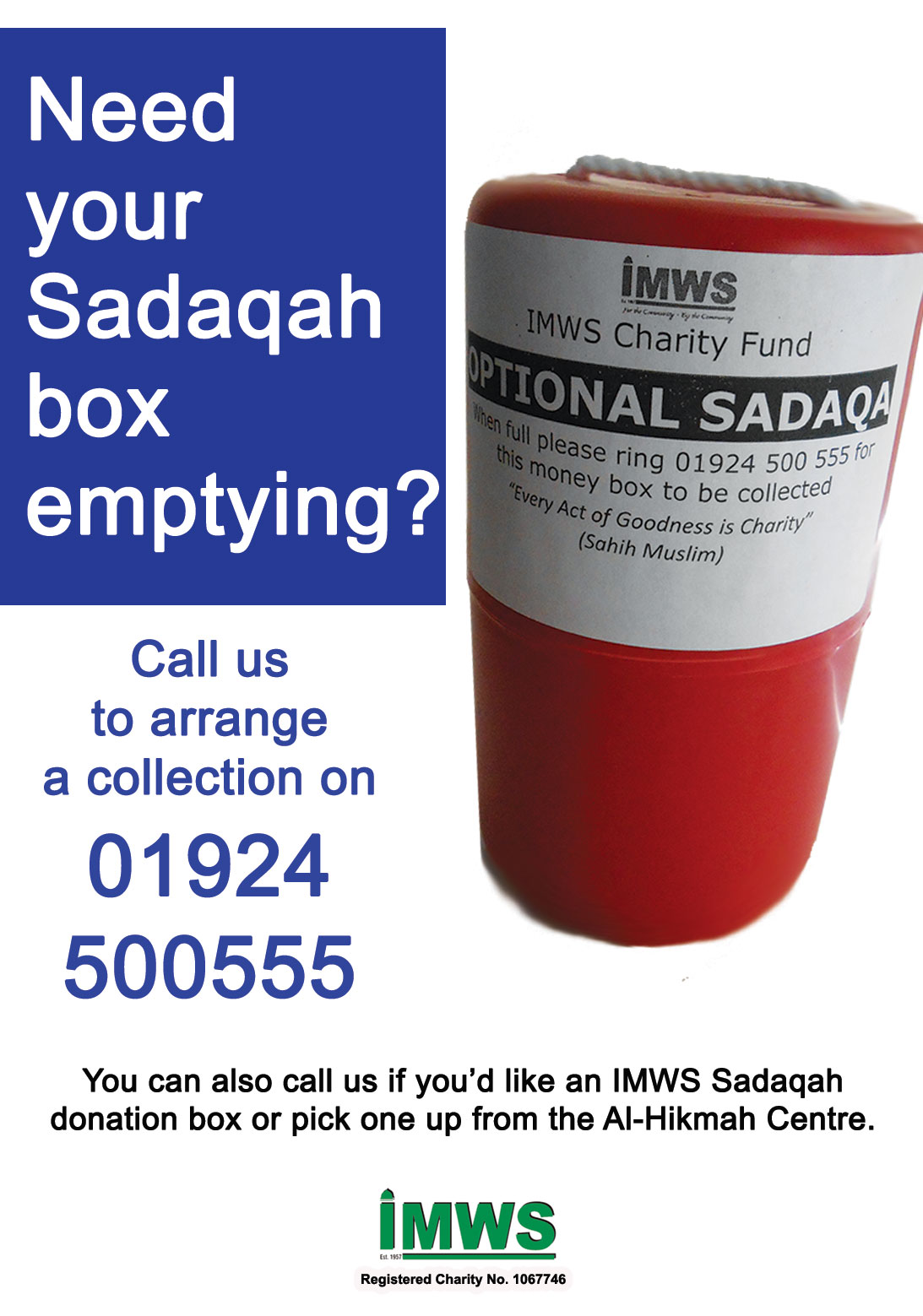 Sadaqa box collection service