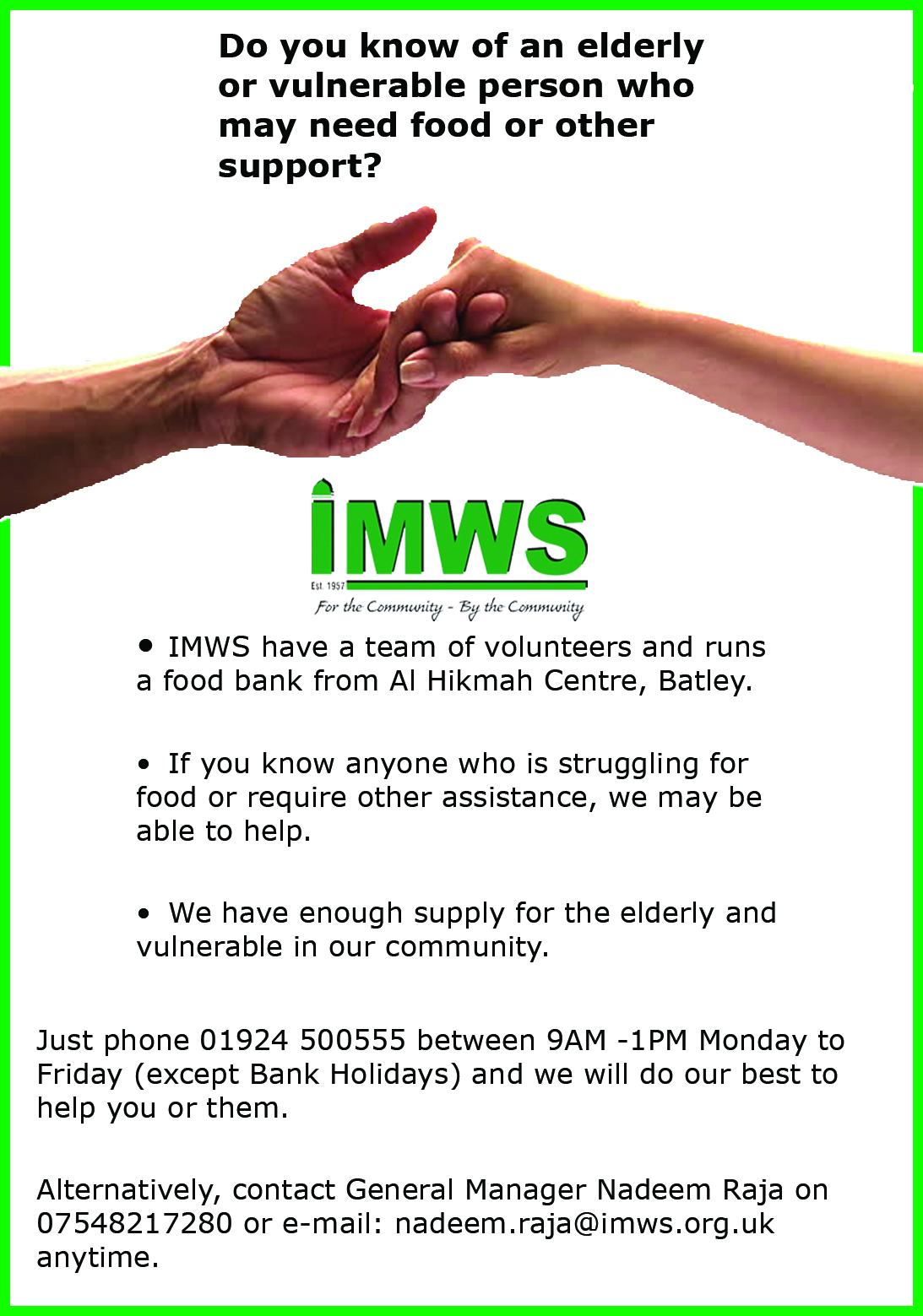 Do you know of an elderly or vulnerable person who may need food or other support?