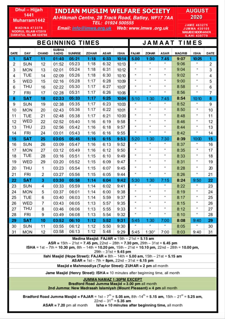 Namaz timetables August/Sept/Oct & November